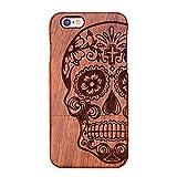 Forepin® Natur Holz Wood Hülle Handyhülle Echtem Schutz Schale Hart Cover Case Etui für iPhone 5 5S SE 4.0 Zoll - Schädel