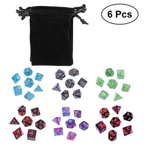 Vosarea 42 Stück (6 x 7 Sätze) Doppelfarbe Polyedrische Würfel Acryl Zahlenspiel-Würfelset für Dungeons und Drachen Party Mathe Rollenspiel mit 6 schwarzen Aufbewahrungsbeuteln (Benutzerdefinierte Polyedrische Würfel)