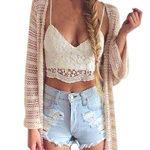 Amlaiworld Frauen Crochet Behälter Unterhemd Spitze Weste Bluse Bralet Bra Crop Top (S, Weiß) (Crop Crochet)