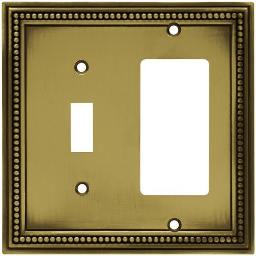 Brainerd 64739 Beaded Single Toggle Switch/Decorator Wall Plate / Switch Plate / Cover, Tumbled Antique Brass by Brainerd -