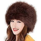 Las mujeres del Ruso Cossack estilo Faux de piel de zorro invierno cálido sombrero -  Marrón -