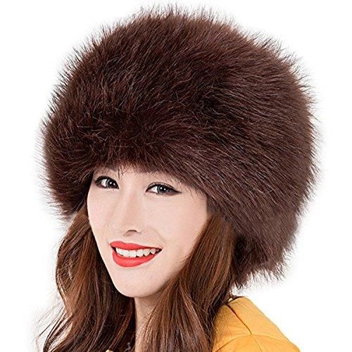 Katherine Shops APP Las Mujeres del Ruso Cossack Estilo Faux de Piel de  Zorro Invierno cálido cfe152b5906