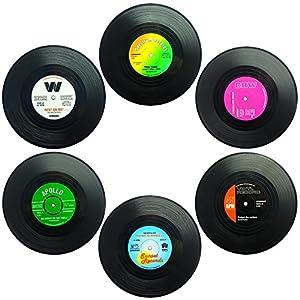 Set von 6 Untersetzer, SENHAI Retro Vinyl Record Matten Tischsets für Kalt-Heißgetränke, Anti-Rutsch-Tabletop-Schutz…