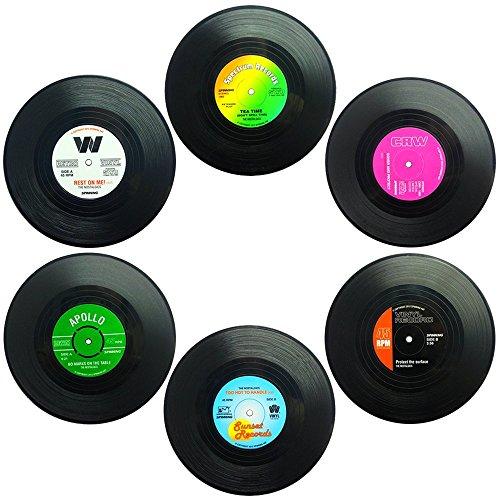 Set von 6 Untersetzer, SENHAI Retro Vinyl Record Matten Tischsets für Kalt-Heißgetränke, Anti-Rutsch-Tabletop-Schutz verhindert Rutschen - 4.1
