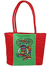 Literacy India Indha Hand Embroidered Work Shouler/Handbag For Girls & Women (Green And Red)