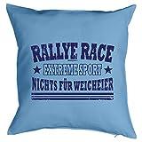 Kissen mit Sport Motiv - Rallye Race Extreme Sport - Nichts für Weicheier - Zierkissen - Couch Kissen - hellblau
