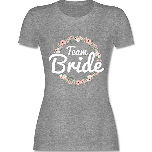 JGA Junggesellinnenabschied - Team Bride Blumenkranz - tailliertes Premium T-Shirt mit Rundhalsausschnitt für Damen Grau Meliert