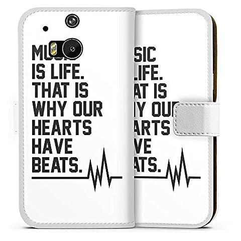 HTC One M8 Flip Tasche Schutz Hülle Walletcase Bookstyle Music Musik Sprüche