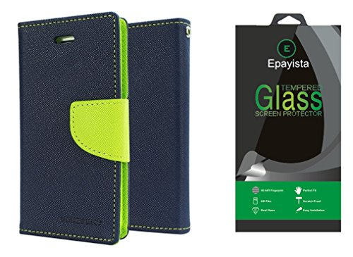 Epayista Mercury Goospery Fancy Diary Card Wallet Flip Case Back Cover for Sony Xperia M/ C 1905 (Blue & Green) + Premium Quality 0.3 mm Pro Curve HD Tempered Glass  available at amazon for Rs.279