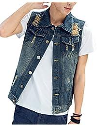Hombre Chaqueta Chaleco Vaquero De Sin Manga Outwears Slim Jeans Denim  Jacket 7da5e1c8efb09