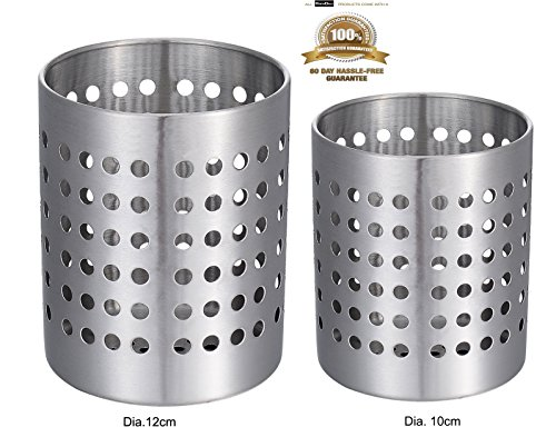 KSENDALO 2/Pack Premium Kitchen Utensil Holder, Strong & Durable 18/8 Stainless Steel Flatware Caddy/Cutlery Organizr, Spatula Cookware Cutlery Drying Storage Organizer,(M&S/Dia.120mm&100mm)