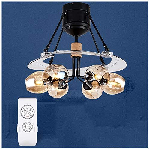 CLCYL Waldwind Unsichtbare Deckenventilator Licht Wohnzimmer Nordic Magic Bean Fan Licht Lampe Home Restaurant Mit Lüfter Kronleuchter,Brown (Lasko-fan Motor)