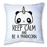 Cuscino decorazione Keep Calm And be a pandicorn Panda e il Corno di unicorno Arc in cielo, Chibi e kawaii Shop