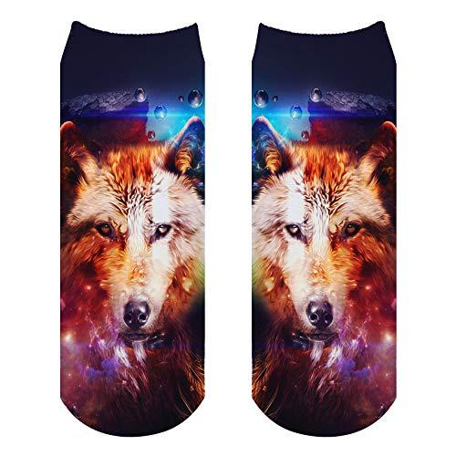 NANAYOUPIN Socken Atmungsaktive 5 Paar 3D Digitaldruck Socken Alpaka Leopard Tiger Penguin Niedlichen Cartoon-Muster Mann Frau Baumwolle Komfortable Lässige SockenWolf