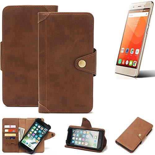 K-S-Trade Handy Hülle Haier Leisure L56 Schutzhülle Walletcase Bookstyle Tasche Handyhülle Schutz Case Handytasche Wallet Flipcase Cover PU Braun (1x)