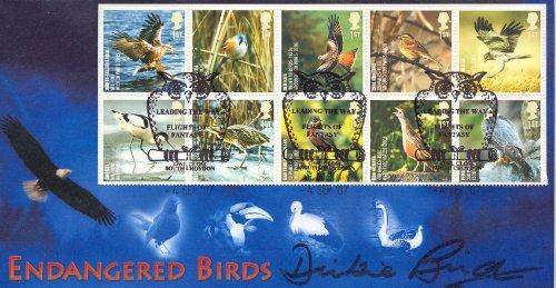 Gefährdete Vogelarten, First Day Cover, signiert von DICKIE Vogel!!!!!!!! Dickies-cover