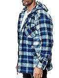 Chemise Polaire Carreaux en Flanelle Homme Veste Thermique, Couleurs:Bleu, Taille de Veste:XL