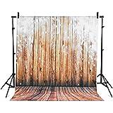 BPS Fond tissu de studio photo pour portraits 2.1x1.5m de couleur brun, décoration de planche en bois, matière imperméable
