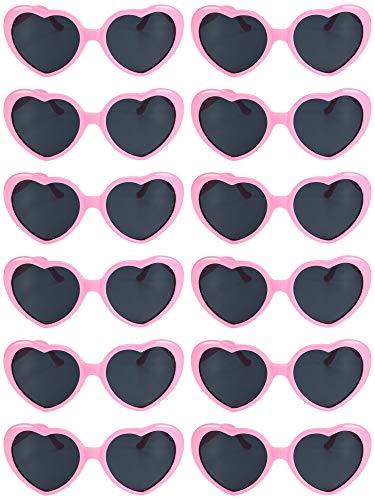 Blulu 12 Stück Neon Farben Herz Form Sonnenbrillen für Damen Kinder Party Favors und Festival (Rosa)