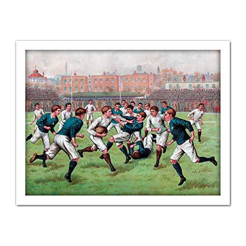 Scotland England 1893 Rugby Football Match Painting Large Framed Art Print Poster Wall Decor 18x24 in Schottland Malerei Wand Deko England-match