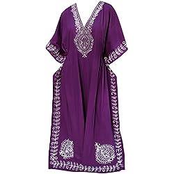 La Leela traje de baño de la playa del vestido del diseñador de rayón de las mujeres maxikimono cubre violeta caftán