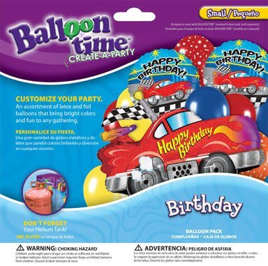 Balloon Time Balloon Pack Sports Car Birthday Use W/ Helium Balloon Kit Ace  2292043 by Worthington Cylinders