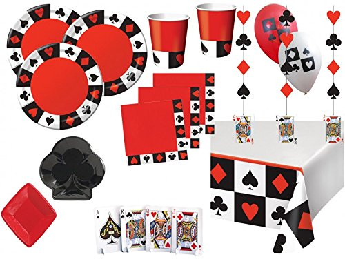 XXL 61 Teile Poker, Casino Motto Party Deko Set 8 Personen