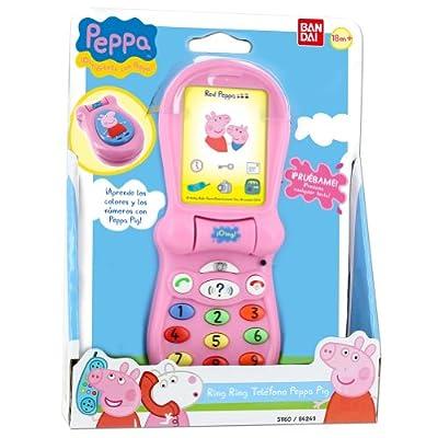 Peppa Pig - Teléfono con juegos y sonido, 17 x 6 cm (Bandai 84249) por Bandai