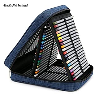 IGNPION Large Canvas Coloured Pencil Pencil Case Bag for Arts - Hold 120 Standard Pencils with 120 Loops (Blue)