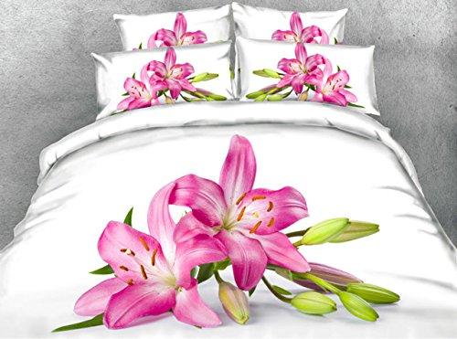 JF 168 Weißen Stoff mit Lily Flower Print 5 Pcs Tröster Set Queen King Size Bett in Einem Beutel Cal King Betten (Queen-size-bett In Einem Beutel)