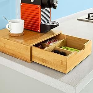 sobuy frg70 n bo te de rangement tiroirs pour capsules de th et caf en bambou bo te. Black Bedroom Furniture Sets. Home Design Ideas