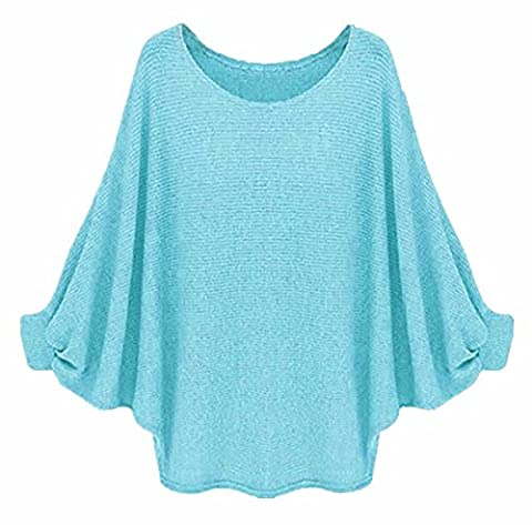 Longwu Womens Casual Oversized Batwing Loose Sweater Knitted Pullover Top Green