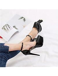KPHY-Sexy Sugerencia Impermeable 13Cm De Alto Con Solo Zapatos Pintado De La Piel Negro Luz Ranurado El Hueco Noche Zapatos De Mujer 34 Negro