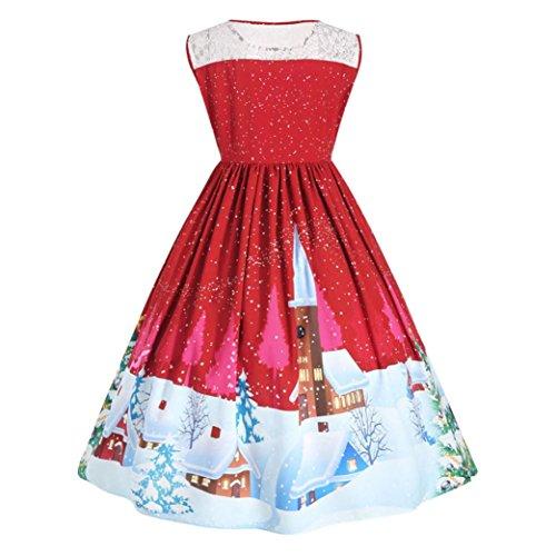 Grande Taille Femme Robe Soirée,OverDose Robe NoëL Christmas Mini Dress Rouge