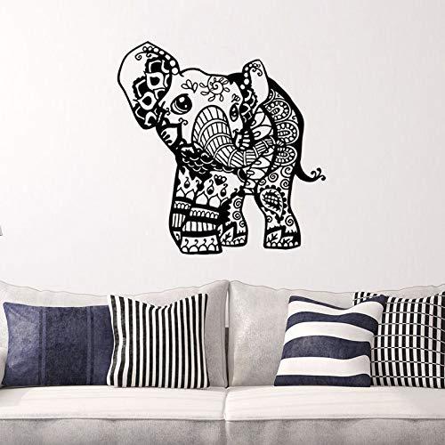 hllhpc Indischer Elefant Vinyl Wandaufkleber Ganesha Abnehmbare Wandtattoos Für Schlafzimmer Kunst Dekor Tapete 60 * 59 cm