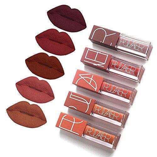 5 Couleurs Maquillage Waterproof à Lèvres Mat Liquide Beauté Brillant Rouge à Lèvres Lip Gloss...
