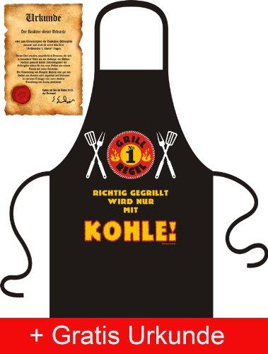 Schürze Schurz - Grillregel 1: Richtig gegrillt wir nur mit Kohle - Mit Urkunde - Tolle Geschenk Idee für Grill Fans !