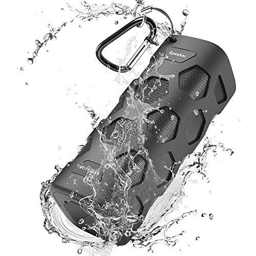 Bluetooth Lautsprecher, 20W Tragbarer Outdoor Lautsprecher Wasserdicht, Dual-Treiber Stereo Kabelloser Lautsprecher mit Reinem Bass, 5200mAh Powerbank, Eingebauten Mikrofon, 24 Stunden Spielzeit für Party & Camping