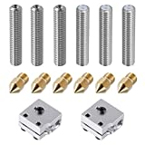 EAONE 6 Stück 30 mm Länge Extruder 1,75 mm Tube und 6 0,4 mm Messing Extruder Düse Druckköpfe für MK8 MakerBot RepRap 3D Drucker (Bonus: 2 Stück Aluminium Heizblock)