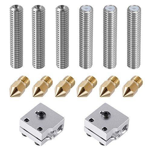 EAONE 6 Pièces Tube de 30 mm Longueur Extrudeuse 1.75 mm et 6 Pièces 0.4 mm Extrudeuse Laiton Buse Têtes d'impression pour MK8 M6 MakerBot RepRap Imprimante 3d (Bonus: 2 Pièces Bloc de Chauffage en Aluminium)