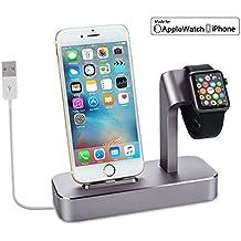 Soporte y stand de carga de aluminio 2en1 (Cable lighting incluido)para Apple iphone y Apple Watch para iPhone 7/6s/6s plus/6/6 plus/5s/5/SE y Apple Watch/Sport/Edition 38mm/42mm(Certificado Apple MFi)