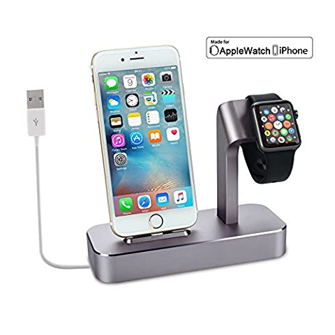 Support de Charge Chargeur Apple Watch Cable Fourni Dock Station de Charge 2 en 1 Station pour Apple Watch en Aluminium pour iPhone 7/7plus/6s/6splus/6/6plus/5s/5 et Apple Watch 38mm / 42mm(Gris)