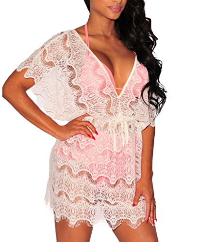 Bigood Robe pour Bikini Maillot de Bain Femme Sexy Col V Profond Transparent Blanc