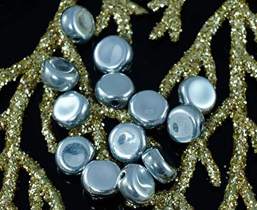 Undurchsichtig Silber Tschechische Glas, Flache Runde Münze Disk-Perlen Spacer Tablet-Form 6mm 50X -