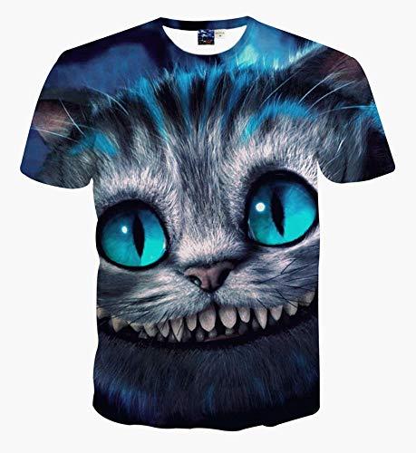 XIAOBAOZITXU T-Shirt 3D-Digitaldruck Kurze Ärmel Unisex-Paar-Kostüm Cartoon-Katze Blau Cool Lustige Lose Sport-Mode Großes T-Shirt XL (Kostüme Cartoon Paar)