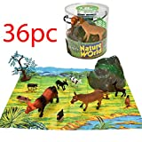 36PC LARGE TUB FARM ANIMALS SET COW SHEEP PIG TOY FIGURES + 2 PLAYMATS KIDS NEW