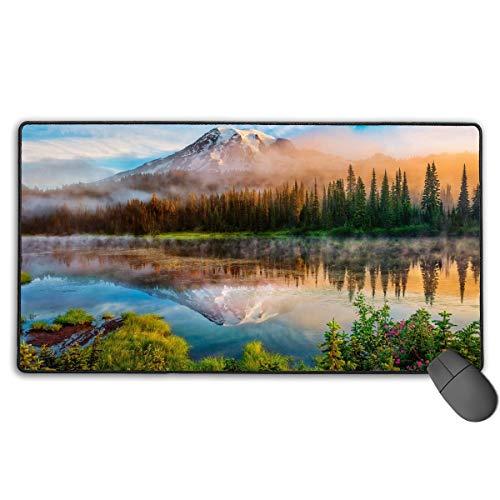 Washington Cascades (Mauspad Erweiterte Mat fghj Washington-Cascade-Mountains-Morning-Forest-Lake-Mist-Sunrise Large Gaming Mouse Pad Extended Mat Non-Slip Rubber Desk Pad Computer Keyboard Mat)