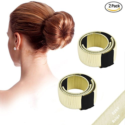 NALATI 2Pcs Wig Easy Hair Disk Bun Maker/Hair Donut/Hair bun maker tool/Hairstyle Clip/Hair Bun Magic French Twist Doughnuts for Hair Piece Bob Maker Hair Diy Tool (2Pcs Beige)