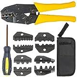 TecTake Crimpzange Kabelschuhzange Crimpwerkzeug Aderendhülsen Zange 5 Einsätze Kabelschuhe Presszange Set mit Werkzeugtasche