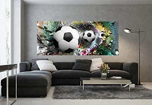 FORWALL Fototapete Poster Vlies Tapete Fußbälle in 3D Puzzle Tunnel VEP (250cm. x 104cm.) Photo Wallpaper Mural AMF3381VEP Sport Fußball Puzzle 3D Bunt Tunnel FC Ronaldo